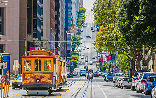 Scion Staffing San Francisco trolley in the business district